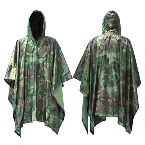 Waterproof Raincoat, MTURE Unisex Adult Rain Poncho Hooded Ripstop For Festival Military Camping Hiking Hunting Cycling 55