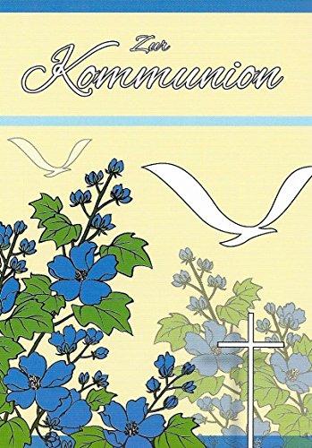 zur Kommunion mit Innentext und Umschlägen Motiv Blumen / Vögel Junge Mädchen (K31) (Bestätigung Party)