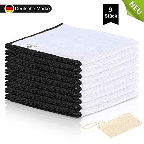 MANDOU - NEU - 9x Bambus Putztücher ohne Mikrofaser für Küche 23x18cm + GRATIS Schwamm Hochglanz Putzlappen Set für Spiegel, Bad & Fenster - Waschlappen Tücher Reinigung - Tuch Lappen