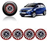 #6: Auto Pearl - Premium Quality Car Full Wheel Cover Caps Red and Black 14 Inches Press Type Fitting For - - Tata Indica Vista
