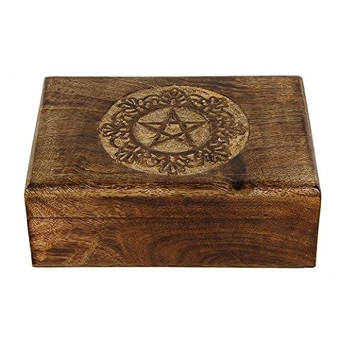 Icrafts en bois sculpté à la main en bois pentagramme Multipurpose Boîte de rangement (7,8x 5,6x 3.3) souple