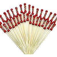 Kentop 100pcs Palillos para Cócteles para Boda, Fiesta o Uso en Hogar,12cm (Rojo)