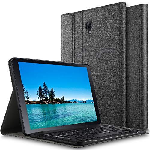 ELTD Tastatur Hülle für Samsung Galaxy Tab A 10.5 [Deutsches QWERTZ-Layout],Ständer hülle mit Abnehmbar Kabellose Tastatur für Samsung SM-T595/T590 Galaxy Tab A 10.5 Zoll 2018 [Grau] (Protector Samsung Screen 3 Tablet)