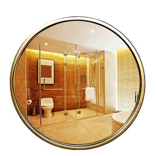 JXQ Miroir mural européen en fer forgé, salle de bains, miroir mural, miroir doré, miroir de salle de bain rond, miroir d'art