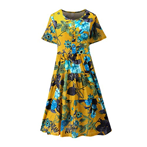 Sonojie Fashion Damen Plus Size O-Neck Easy Print Button Kurzes Kleid aus Baumwolle und Leinen