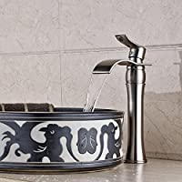 Leva singolo nichel spazzolato cascata lavandino rubinetto in ottone miscelatore del rubinetto Deck Monte vasca da bagno Vanity rubinetto rubinetti del lavabo diffuso corpo