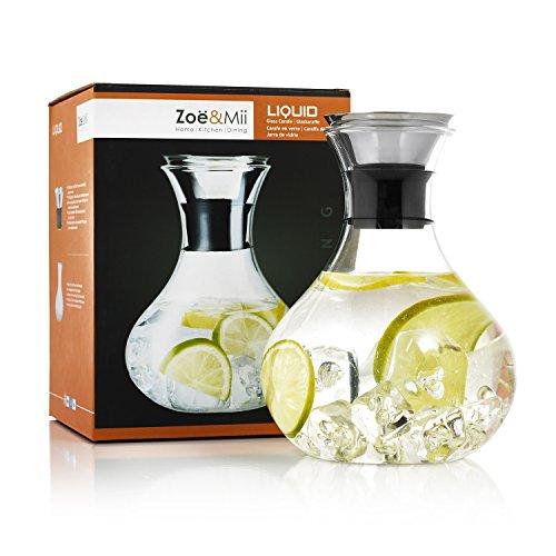 Zoe & Mii Premium 1.5L Glaskaraffe mit Edelstahl,Wasserkaraffe,Karaffe,Gratis 21 Getranke Rezepte Ebook,Glaskanne,Geschenke,Wasserkrug.