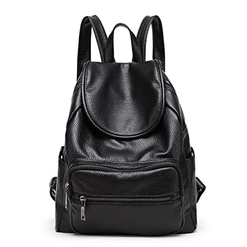 MYLL Zaino Antiurto In PU Daypack Resistente Allacqua Zaino Adatto A Donne Ladies Girls College Gym Work Sports,LightGrey Black