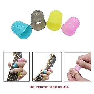amiciKart® 4 in 1 Flexible Fingerstall Fingertip Protectors Silicone Guitar string Finger Guards Fingertip for Guitar