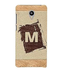 99sublimation alphabet m brownish colour salwood corners arial bold font Designer Back Case Cover for Meizu M3 Note :: Meizu Note 3