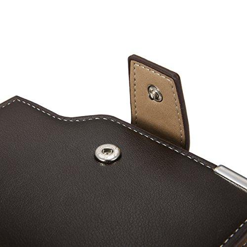 Herren Geldbeutel, Tezoo Brieftasche Portemonnaie aus Erstklassigem Leder Multifunktion mit Reißverschluss kleine Geldbörse Große Kapazität Mappe Geldtasche Wallet Schwarz Braun