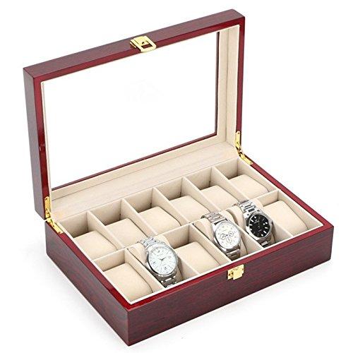 Custodia per orologi in legno color caffè con coperchio in vetro 12 posti di case elegance.