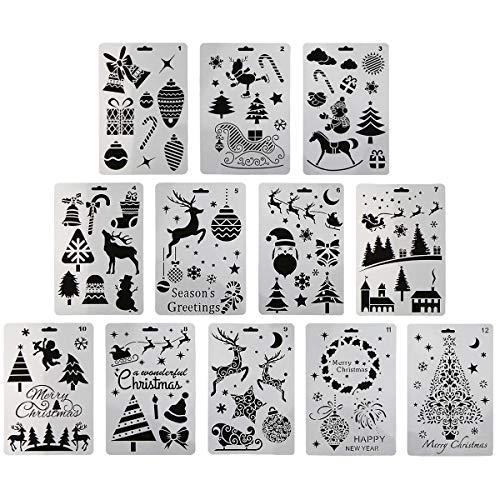 12 Stück Kunststoff-Malschablonen mit Weihnachtsmotiven, Weihnachtsmann, Schneemann, Weihnachtsbaum, Schnee, Elch, Klingelglocke, Malvorlagen, 25,4 x 17,8 cm, für Bastelprojekte