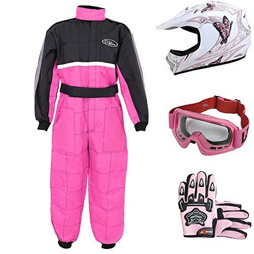 Leopard LEO-X18 Rosa Schmetterling Kinder Motocrosshelme Motorradhelm (M 51-52cm)+ Handschuhe (M 6cm) + Brille + Kinder Motocross Anzug - S (5-6 Jahre alt)