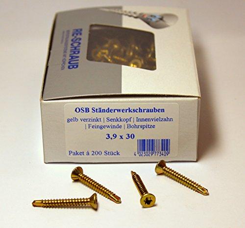 200 Stück RE-SCHRAUB OSB Ständerwerkschrauben 3,9 x 30 mm gelb verzinkt Torx TX 20 Verlegeplattenschrauben