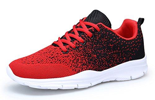 DAFENP Unisex Uomo Donna Scarpe da Ginnastica Corsa Sportive Fitness Running Sneakers Basse Interior Casual all'Aperto,XZ747-M-redblack-EU44