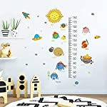 decalmile Space Planets Solar System Height Chart Wall Stickers Kids Growth Measure Wall Decals Childrens Bedroom Boys Wall Decor