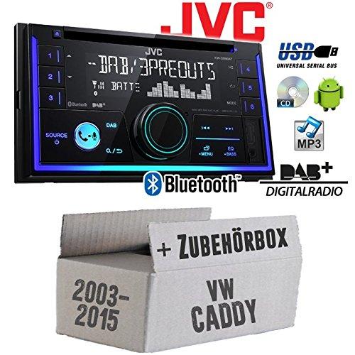 Autoradio Radio JVC KW-DB93BT - 2-DIn DAB+ Bluetooth MP3 USB - Einbauzubehör - Einbauset für VW Caddy 2K - JUST SOUND best choice for caraudio Din Radio Block