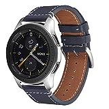 WFEAGL Compatible Bracelet Galaxy Watch 46mm/Gear S3 Frontier/S3 Classic/Huawei Watch GT/Watch 2 Classic,20mm Supérieur en Cuir à Dégagement Bracelet(20mm, Bleu foncé+Boucle Argent Square)