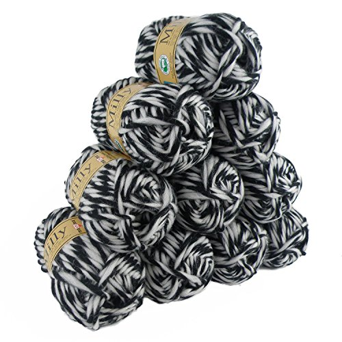 maDDma ® 10 x 50g (=500g) Filzwolle Milly #10022 schwarz-weiß, Wolle zum Strickfilzen