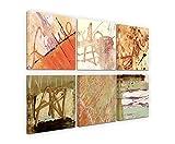 Exklusive Bilder auf Leinwand bespannt (6 Stück 30x30cm) - Abstrakt Terra Cotta Art Kunst Schrift Brauntöne