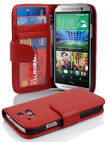 Cadorabo Hülle für HTC One M8 (2. Gen.) Hülle in INFERNO Rot Handyhülle mit 3 Kartenfächern Case Cover Schutzhülle Etui Tasche Book Klapp Style Inferno-Rot