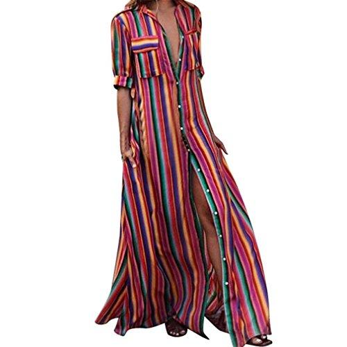 FantaisieZ Robe Femmes Manches Courte Imprimé Rayé Multicolore Robe De Plage Longue Bohême Robe Décontractée Robe Maxi Dress Sexy Femme Casual
