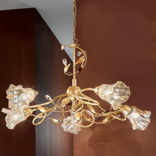 Lustre suspension à 5 lumières en fer décoré or vitres ambrati- Collection Emma- éclairage intérieur