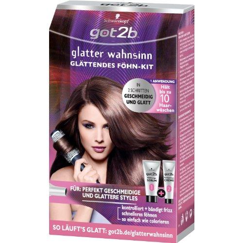 Schwarzkopf got 2b glatter wahnsinn Glättendes Föhn-Kit Inhalt: 1 Tube Glättungs-Serum 80ml, 1 Tube got2b Versiegelung-Creme 60ml, 1 Paar...