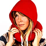 #10: Travel Neck Hoodie Pillow by House of Quirk with Ear Plugs And Eye Mask - Red