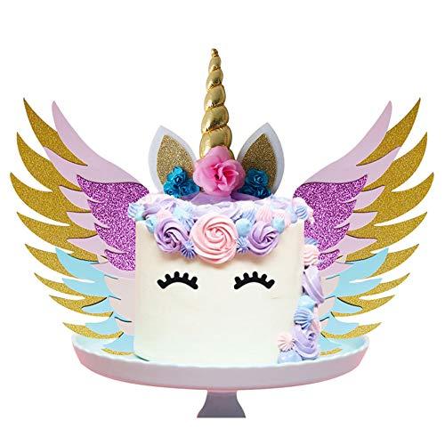Cake Topper Set mit Flügeln / Goldglitter Einhornhorn / glitzernden bunten Flügeln / Ohren / Wimpern für Party Supplies Geburtstag Hochzeit Weihnachten ()