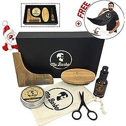 Kit cuidado de barba CALIDAD PREMIUM con aceite y bálsamo ORGÁNICO (sin fragancia), cepillo, peine, tijeras y una bolsa de transporte. Un delantal de barba GRATIS. Todo en una elegante caja de regalo
