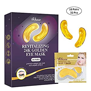 24K Gold Eye Mask,Under Eye Bags Treatment Mask, Under Eye Patches,Dark Circles Under Eye Treatment,Collagen Eye Mask for Puffy Eyes,Dark Circles,Anti-Aging,Wrinkle,Eye Gel Pads 16 Pairs