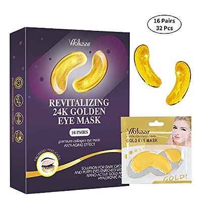 24K Gold Eye Mask,Under Eye Bags Treatment Mask, Under Eye Patches,Dark Circles Under Eye Treatment,Collagen Eye Mask for Puffy Eyes,Dark Circles,Anti-Aging,Wrinkle,Eye Gel Pads 16 Pairs