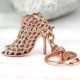 Arpoador High-heeled Shoe Keychain Creative Fashion Refinement Lady Gift Hollow Shoes Keyring Key Chain Ring Keyfob 86113 (Gold)