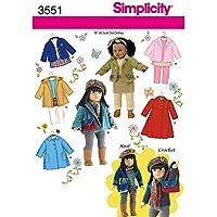 Simplicity 3551 - Patrones de costura para hacer ropa de muñeca (talla única)