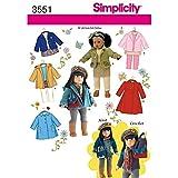 Simplicity Schnittmuster 3551eine Größe Puppe Kleidung