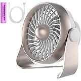 USB Mini ventilador con pilas, pequeño Estable y silencioso USB Mini Fan de | 360° 4niveles de velocidad | Ventilador de mesa/ventilador Ideal para el escritorio, Dormitorio, camping