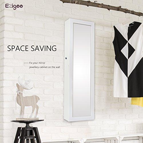 Ezigoo Schmuckschrank Spiegel Türgestell / Spiegel Schmuckschrank hängend mit LED Lichtleiste 110 x 31,5 x 8,5 cm - 5