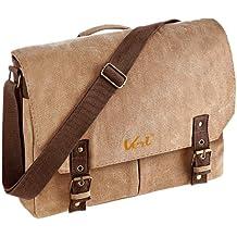 Quadra Studenten Tasche Retro Style: Vintage Canvas Satchel Messenger Umhängetasche mit Veri ® Logo