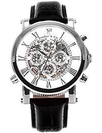 Automatik Armbanduhr von Boudier & Cie für Männer mit einem echten Diamanten mit Weißem Zifferblatt Analoger Anzeige und Schwarzem Armband aus Leder SK14H033