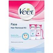 Veet Gesicht Haarentfernung Set - Sensitive Haut mit Aloe Vera & Vitamin E (wirksam für kurze Haare) 2x50ml