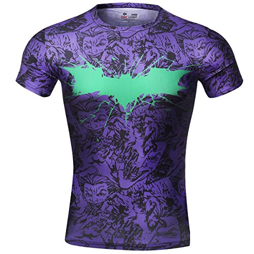 Cody lundin® movie theme superhero uomo manica corta tee fitness compressione shirt, pipistrello logo t-shirt (l, porpora)
