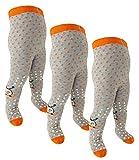 EveryHead Riese 3er Pack Babystrumpfhose unisex Sparpack ABS Strumpfhose Markenstrumpfhose rutschfest Babys (RS-26027-W18-BU4-D3-D3-D3-9/12) in Orange-Orange-Orange, Größe 9/12 inkl Hutfibel