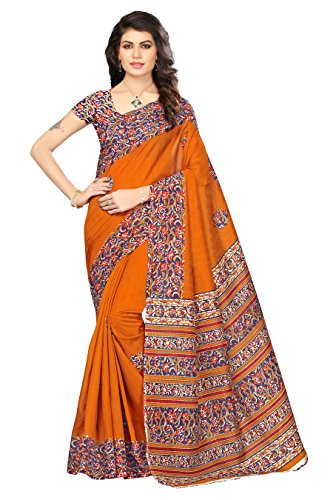 OOMPH! Art Silk Saree With Blouse Piece (rbks_festival073_a_Bronze Orange_Free Size)