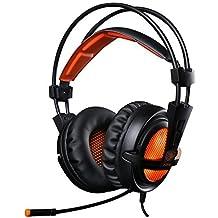 EasySMX [ Dernière Stéréo Micro-Casque Gaming ] Casque à l'écoute Ultra-léger 3.5mm Hi-Fi Headset avec LED idéal pour les Amateurs de Jeu (Noir+Orange)