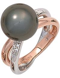 Damen Silber Ring aus 925 Sterling Silber 10 Zirkonia 1 Muschelkern Perle ( Größe 58 )