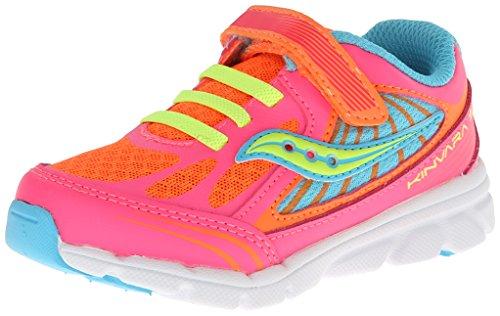 Saucony Girls Baby Kinvara 5 Running Shoe (Toddler/Little Kid),Vizipro Coral/Orange/Blue,5.5 M US Toddler (Saucony Schuhe Kleinkind -,)