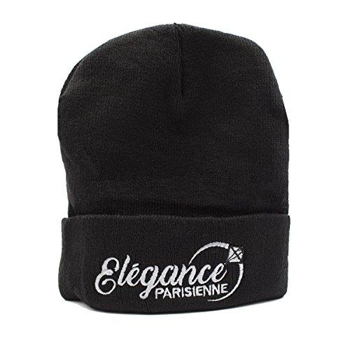ELEGANCE PARISIENNE Beanie-Mütze Strickmütze Winter-Mütze Modisch Schwarz Für Frauen Mädchen Teenager