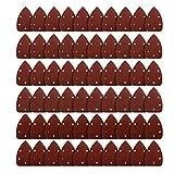 Carta Abrasiva Triangolare con velcro 60 pezzi Carta Vetrata Diverse Grana 40/60/ 80/120/ 180/240 Fogli Abrasivo Triangoli con 5 fori per DIY per levigatrice orbitale